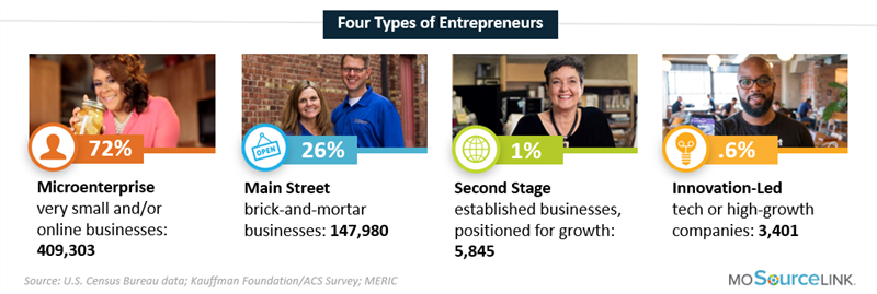 A visual graph of Missouri's 4 types of entrepreneurs