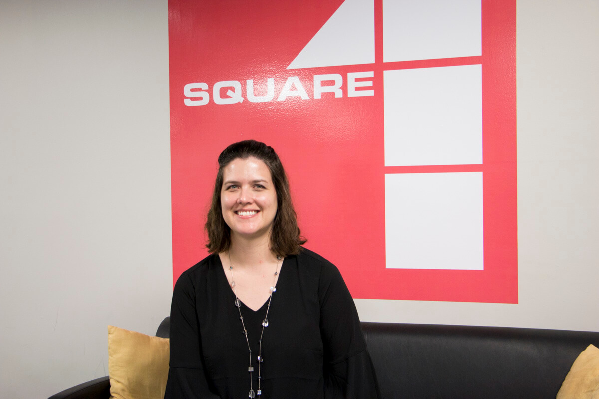 A woman sitting in a entrepreneur and business incubator in rural Missouri