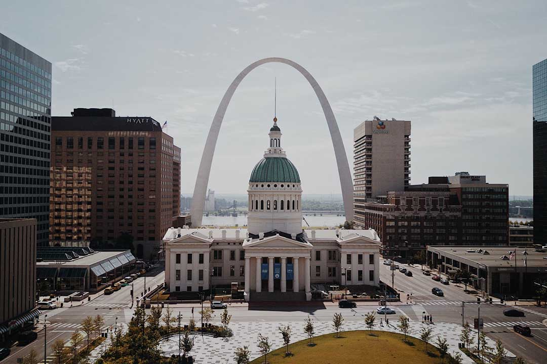 A view of downtown St. Louis and the Gateway Arch