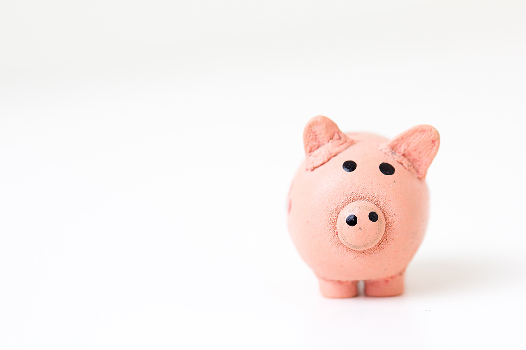 An artistic representation of a pink piggy bank