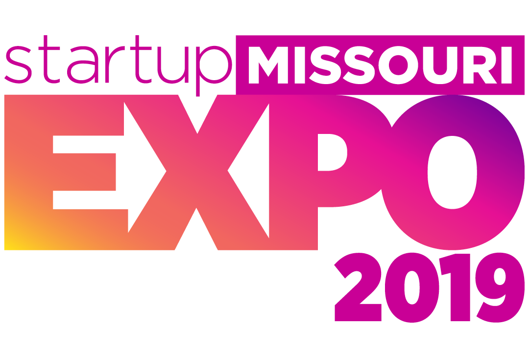 An text based graphic of Startup Missouri Expo's logo in pink, yellow, and purple gradient