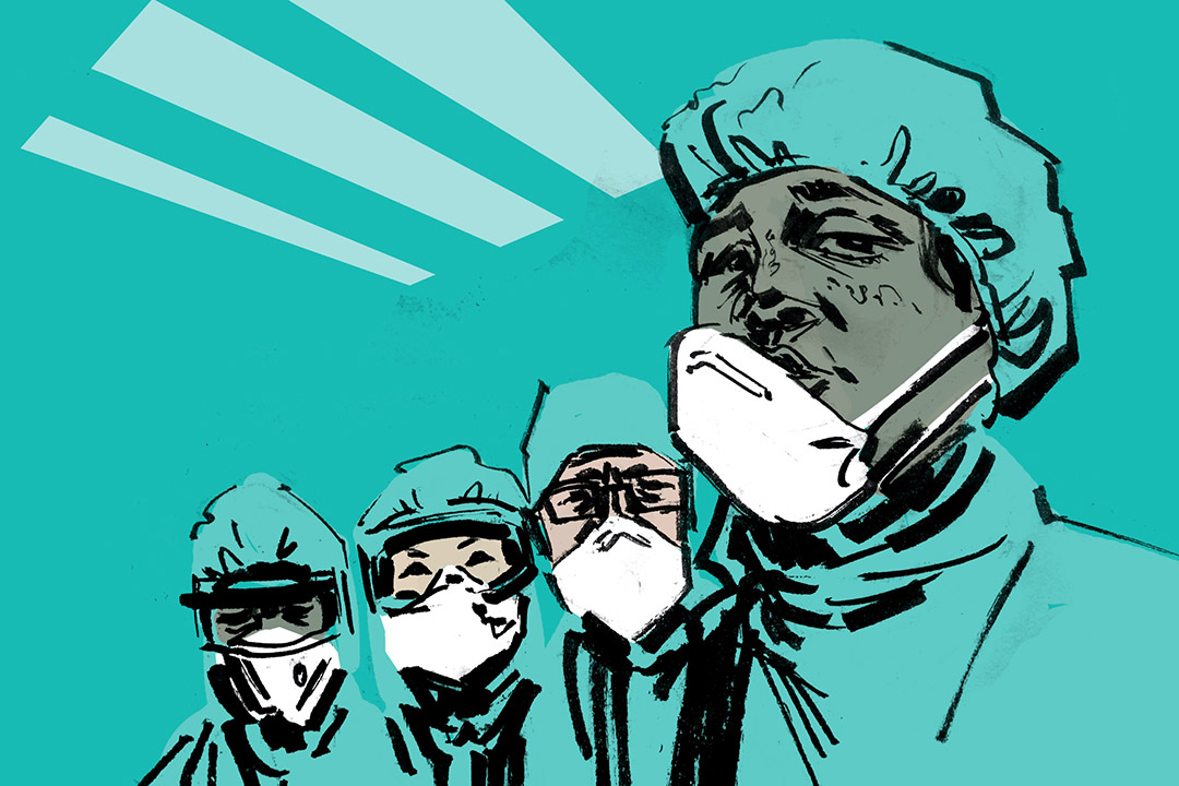 An illustration of medical professionals wearing personal protective equipment